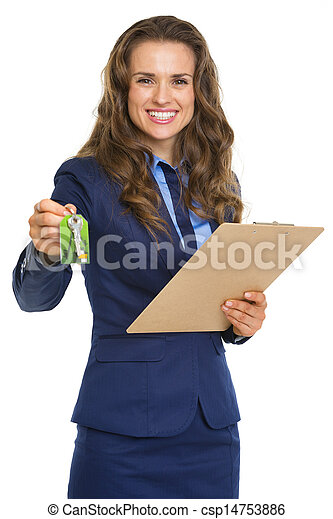Smiling realtor woman giving with clipboard keys - csp14753886