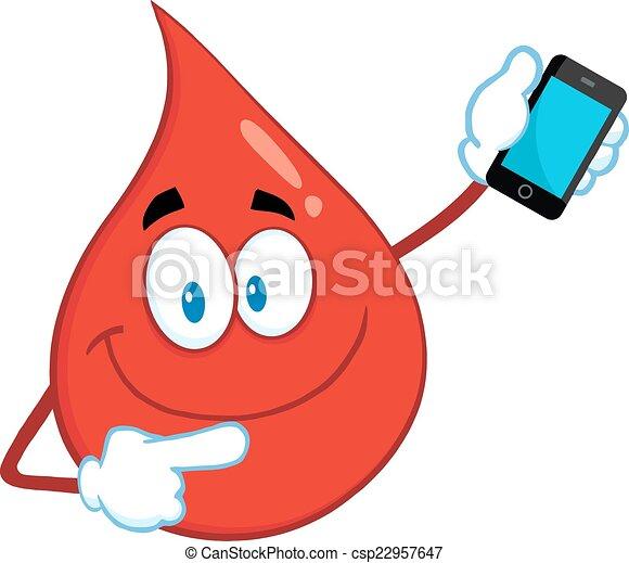 Smiling Red Blood Drop  - csp22957647