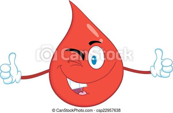 Smiling Red Blood Drop  - csp22957638