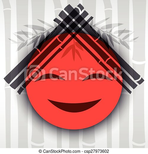 Smiling red sun with bamboo branches. - csp27973602