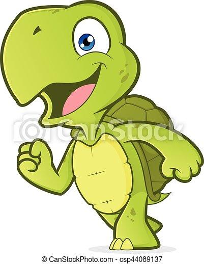 Smiling running turtle - csp44089137