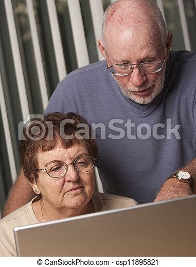Smiling Senior Adult Couple Having Fun on the Computer - csp11895821