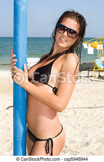 Smiling sexy young woman - csp5948944