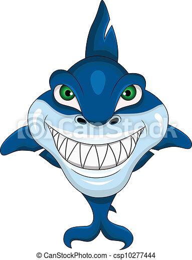 vector illustration of smiling shark rh canstockphoto com Friendly Shark Clip Art Shark Silhouette Clip Art