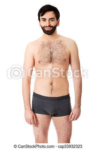 Smiling shirtless man. - csp33932323