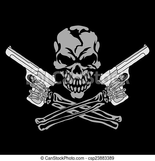 Cool Skull Logos With Guns Vector smiling ...