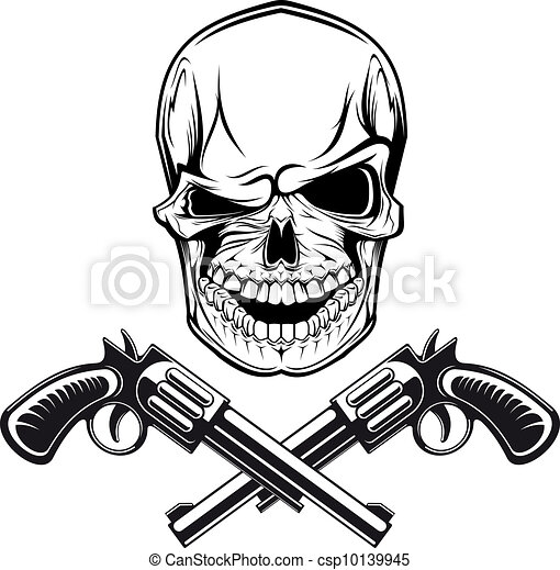 Smiling skull with revolvers - csp10139945