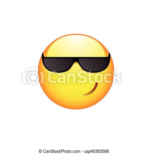 Smiling Smiley with sunglasses - csp40383568