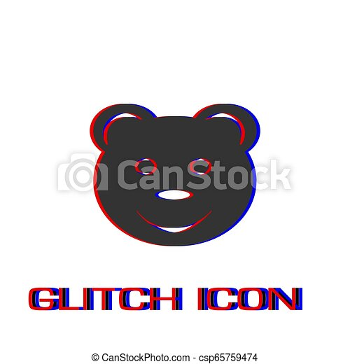 Smiling teddy bear icon flat. - csp65759474