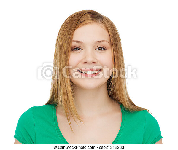 smiling teenage girl in casual clothes - csp21312283