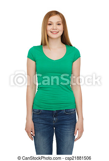 smiling teenage girl in casual clothes - csp21881506