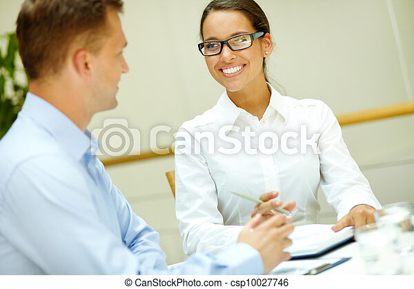 Smiling to colleague - csp10027746