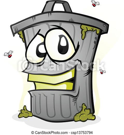 Smiling Trash Can Cartoon Character - csp13753794