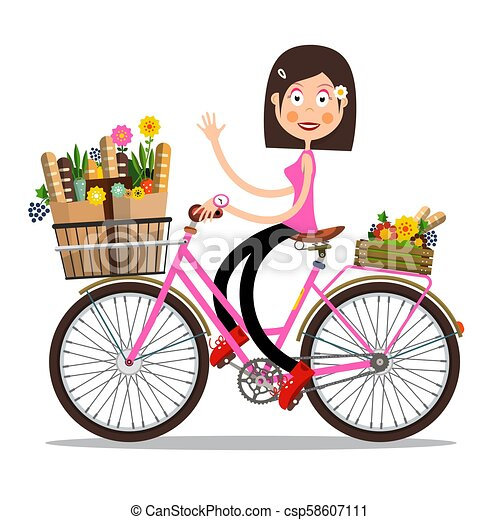 Smiling Waving Woman on Pink Bicycle with Spring Flowers and Baguettes on Basket. Vector Character Isolated on White Background. - csp58607111