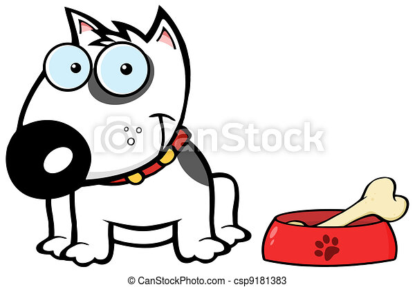 Smiling White Bull Terrier Dog  - csp9181383