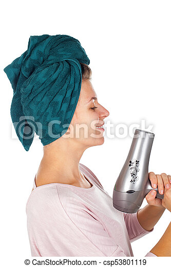 Smiling woman blow drying her hair - csp53801119