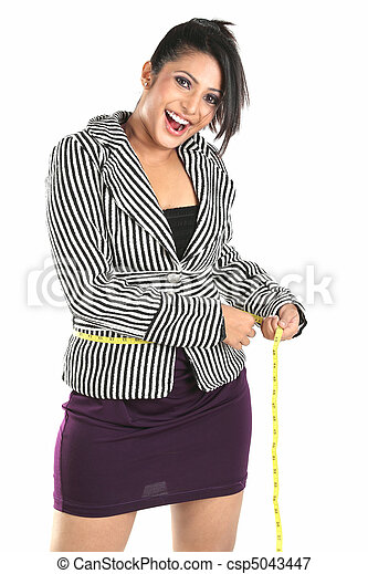Smiling woman for loosing weight - csp5043447