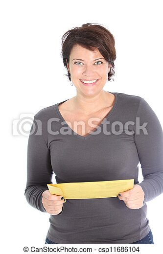 Smiling woman holding a brown envelope - csp11686104