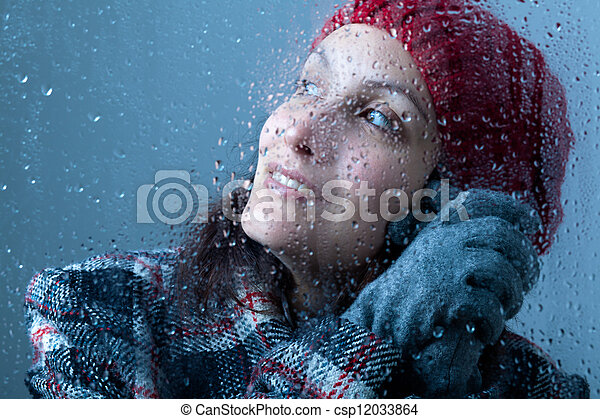 Smiling Woman on a Rainy Day - csp12033864