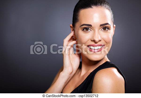 smiling woman on black - csp13502712
