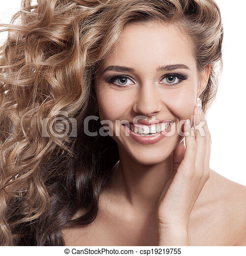 smiling woman portrait. Isolated on white background - csp19219755