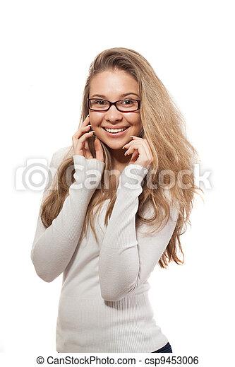 smiling woman portrait on white background - csp9453006