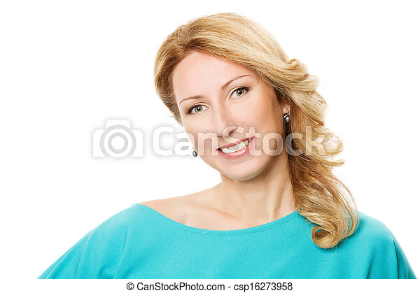 smiling woman portrait over white background - csp16273958