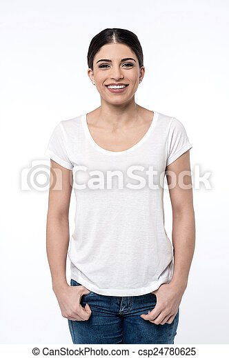 Smiling woman posing over white - csp24780625