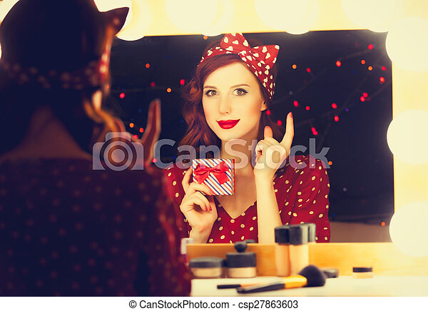 smiling woman with present box - csp27863603