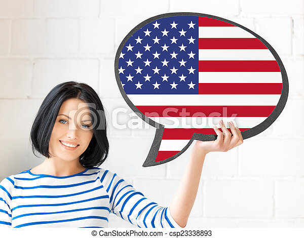 smiling woman with text bubble of american flag - csp23338893