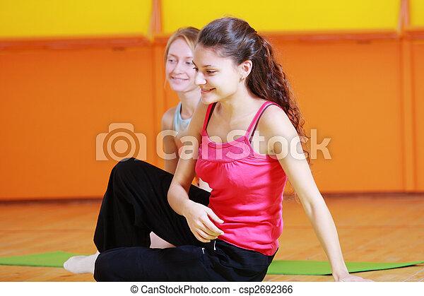 Smiling women in gym - csp2692366
