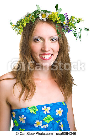 smiling women with floral wreath - csp6064346