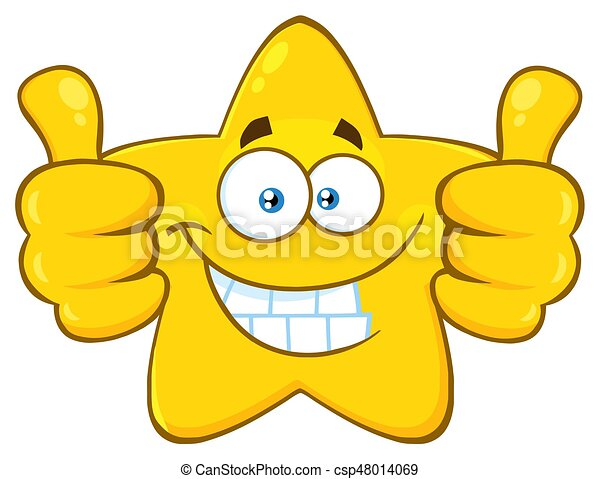 smiling yellow star cartoon emoji face character giving two thumbs rh canstockphoto com Two Thumbs Up Silhouette Two Thumbs Up Silhouette