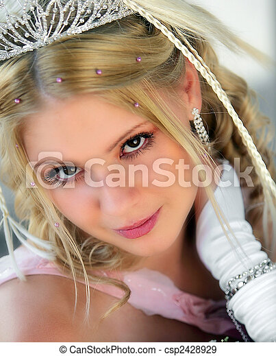 Smiling young adult blond bride - csp2428929