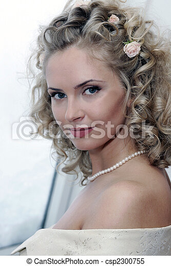 Smiling young adult bride - csp2300755