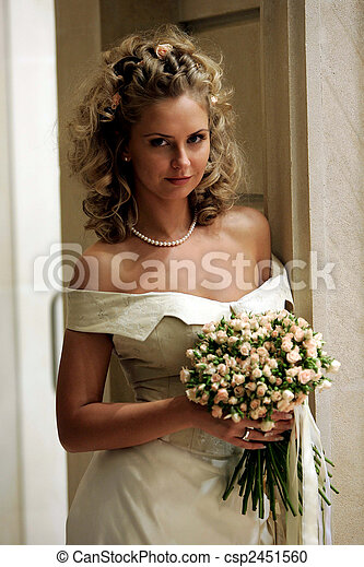 Smiling young adult bride - csp2451560