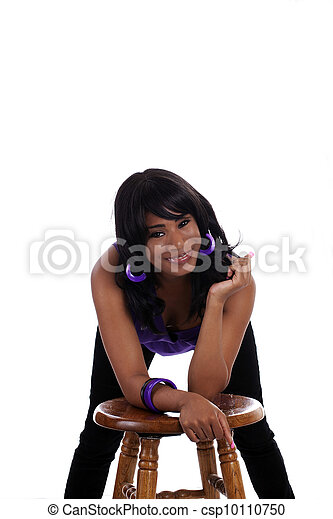 Smiling Young African American Woman Purple Top - csp10110750