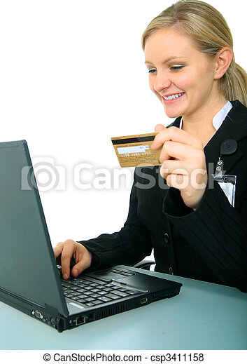 Smiling Young Businesswoman With Credit Card And Laptop - csp3411158