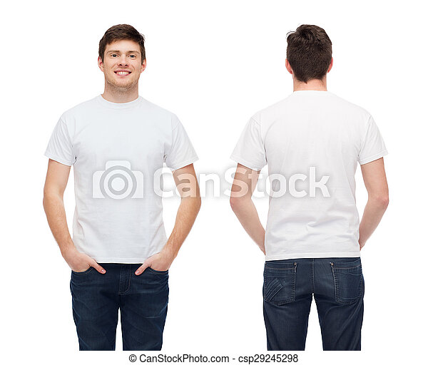 smiling young man in blank white t-shirt - csp29245298