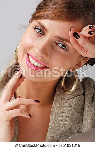 Smiling young woman close up - csp1831319