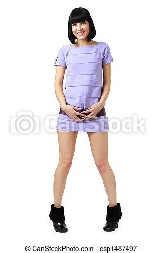Smiling young woman in little dress - csp1487497
