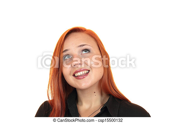 smiling young woman looking up - csp15500132