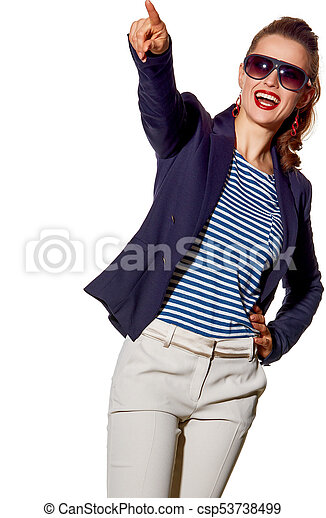 smiling young woman pointing on copy space on white background - csp53738499