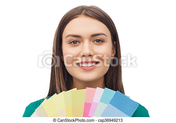 smiling young woman with color swatches - csp36949213