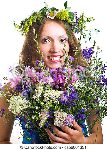 smiling young women with flowers - csp6064351