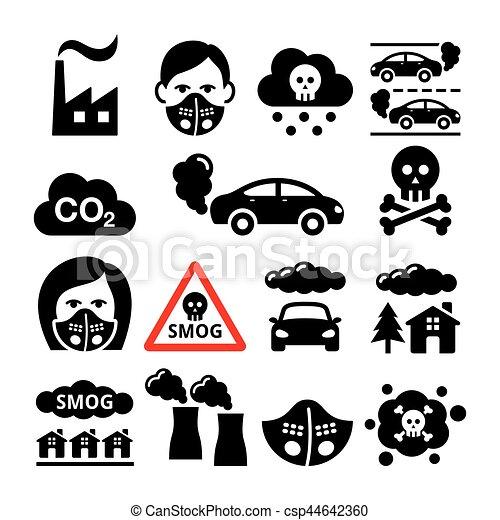 Smog, pollution icons set - ecology, environment concept - csp44642360