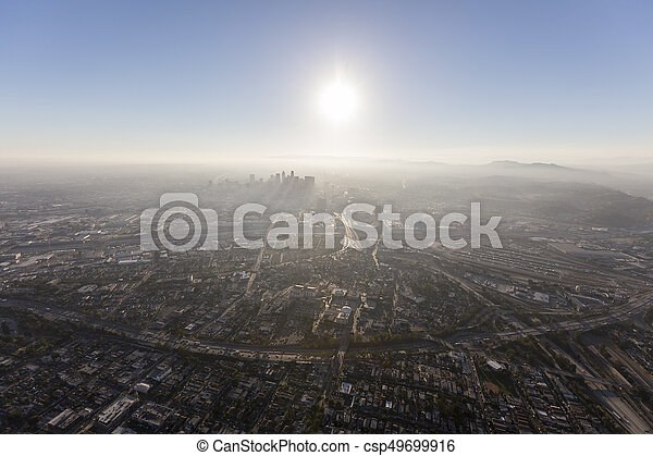Smoggy Los Angeles Summer Afternoon Aerial - csp49699916