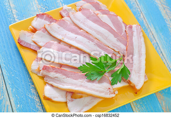 smoked bacon on plate - csp16832452