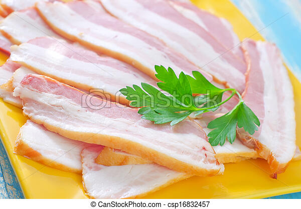 smoked bacon on plate - csp16832457