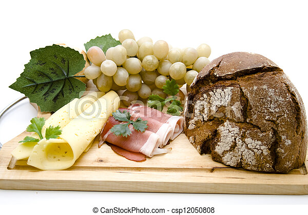 Smoked Ham with Cheese and Bread - csp12050808